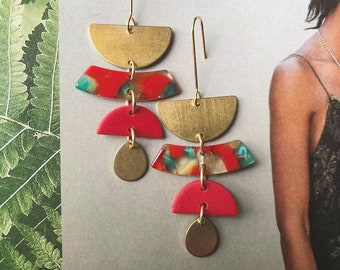Clay + Brass // Inferno Half Moon Drop Earrings