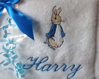 050b5ec07 Personalised BEATRIX POTTER hand towel set. Gift wrapped. Peter rabbit or  jemima puddleduck. Baby gift. New baby. Towel. Flannel.