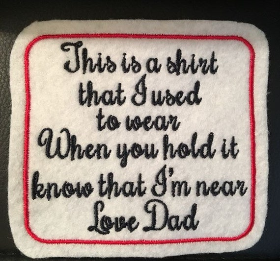 Personalised Embroidered Patch Memorial Memory Keepsake funeral Cushion Panel