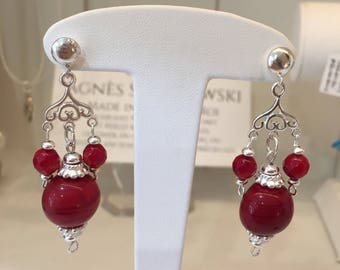 Earring in sterling silver, red Murano glass and Red Sea bamboo