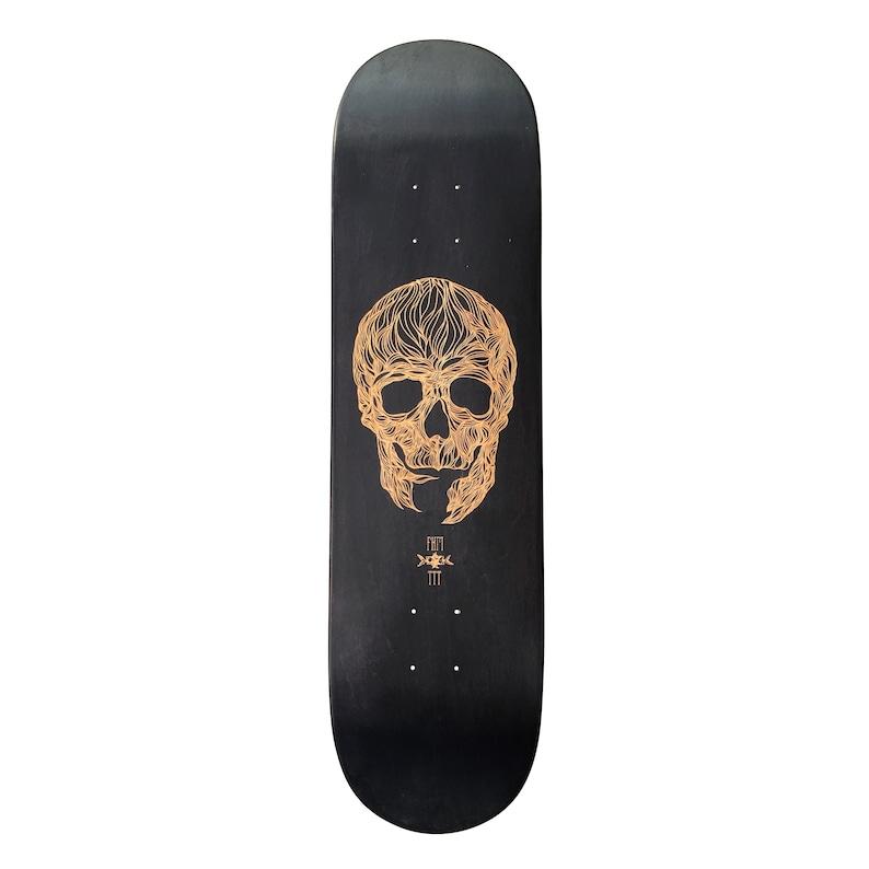 Skateboard art laser engraved in collaboration with artist image 0