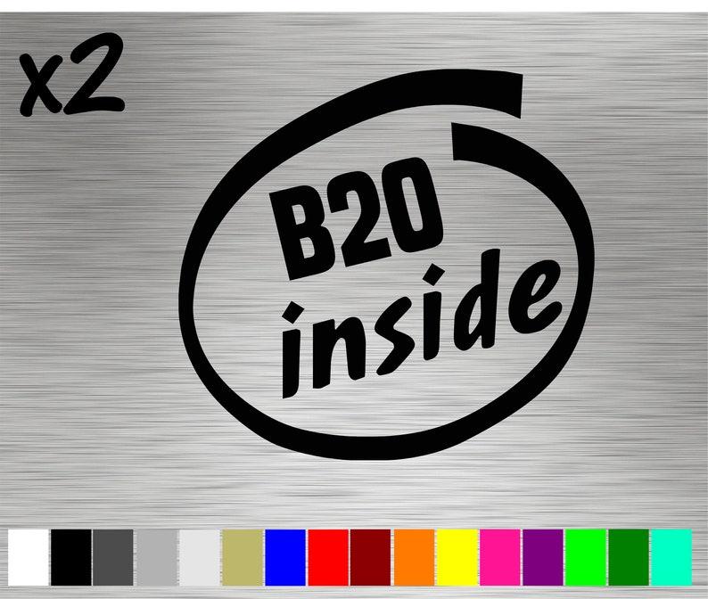2 B20 Inside Decals Stickers Vinyl Design Motor Engine