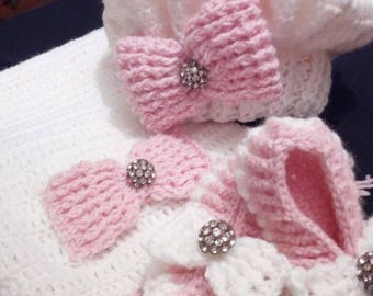 Complete newborns made to crochet hair scarf and handmade shoes