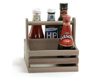 Wooden Table Caddy. Condiment Holder. Sauce and Cutlery. - ST104