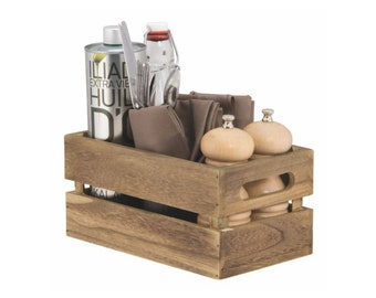 Wooden Table Crate. Condiment Holder. Sauce and Cutlery. Table caddy - CAD-VIN