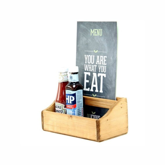 Shabby Chic  Vintage Style Wooden Condiment Cutlery Box Caddy