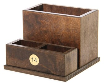 Condiment, Cutlery & Menu Holder with table number. Restaurant. Pub. Table tidy - WCUT2NUMBER