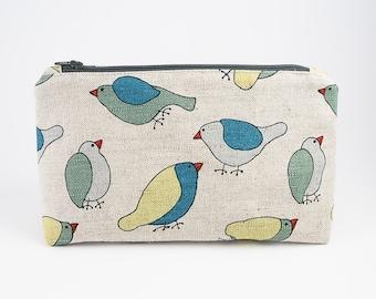 Bird Print Linen Make Up Bag | Travel Organizer | Zippered Cosmetic Bag