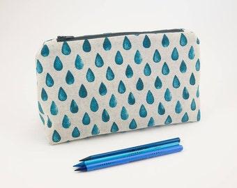 Drop Print Linen Make Up Bag | Travel Organizer | Zippered Cosmetic Bag