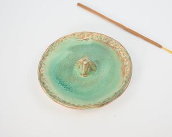 Green Ceramic Incense Holder, Handmade Incense Stick Burner, Housewarming Gift, Pottery Incense Tray