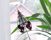 Stained Glass Glenurus .Moth mini Suncatcher | For Plant Pot | Home Decor | Housewarming Gift | Made To Order | Renter Friendly