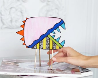 Zoobastik #Pink | 'FIVE Nibblers' collection | Stained-Glass Object | Abstract Stained-Glass Decor | Monstric | Renter Friendly