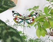 Stained Glass Ghost .Butterfly mini Suncatcher | For Plant Pot | Home Decor | Housewarming Gift | Made To Order | Renter Friendly