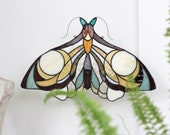 Stained Glass .Moth Suncatcher | Stained Glass Panel | Original Design | Art Nouveau | Birthday Gift | Made To Order | Renter Friendly