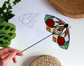 Stained Glass Bigeye .Moth mini Suncatcher | For Plant Pot | Home Decor | Housewarming Gift | Made To Order | Renter Friendly