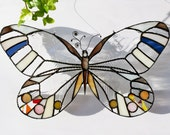 Stained Glass Clear .Butterfly Suncatcher | Stained Glass Panel | Original Design | Birthday Gift | Made To Order | Renter Friendly