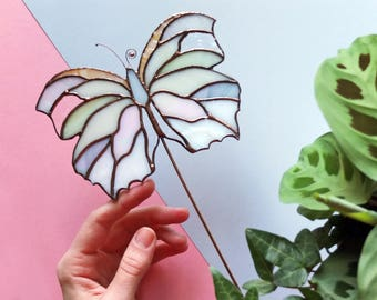 butterfly suncatcher    stained glass for a plant pot    original design    home decor    birthday gift    made to order    renter friendly