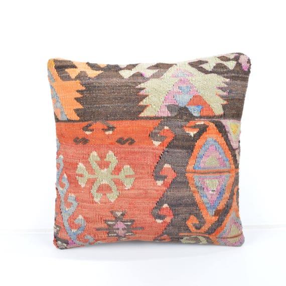 Kilim Pillow16x16''pastel Kilim Cushion Rustic