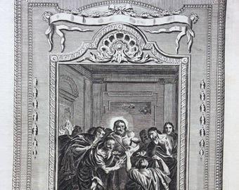 "12.75"" x 8.5""  18th Century Bible Engraving ""Thomas's Unbelief"""