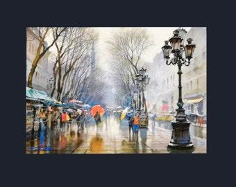 Barcelona Rainy La Rambla