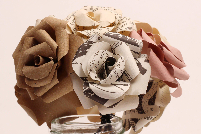 Vintage, old book, paper flower bouquet, DIY workshop kit. Handmade ...