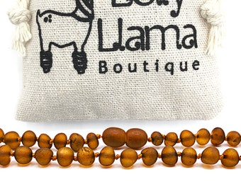 12.5 Inches Polished Anti Inflammatory Unisex Cognac Color Screw Clasp Knots Natural Baltic Amber Teething Necklace For Babies Perfect Baby Shower Gift Drooling /& Teething Pain Relief