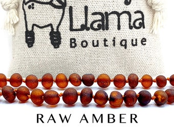 Amber Necklace Raw Cognac Color - Baltic Amber Necklaces for Women Men Kids by Lolly Llama - Bracelets and Necklace Designs