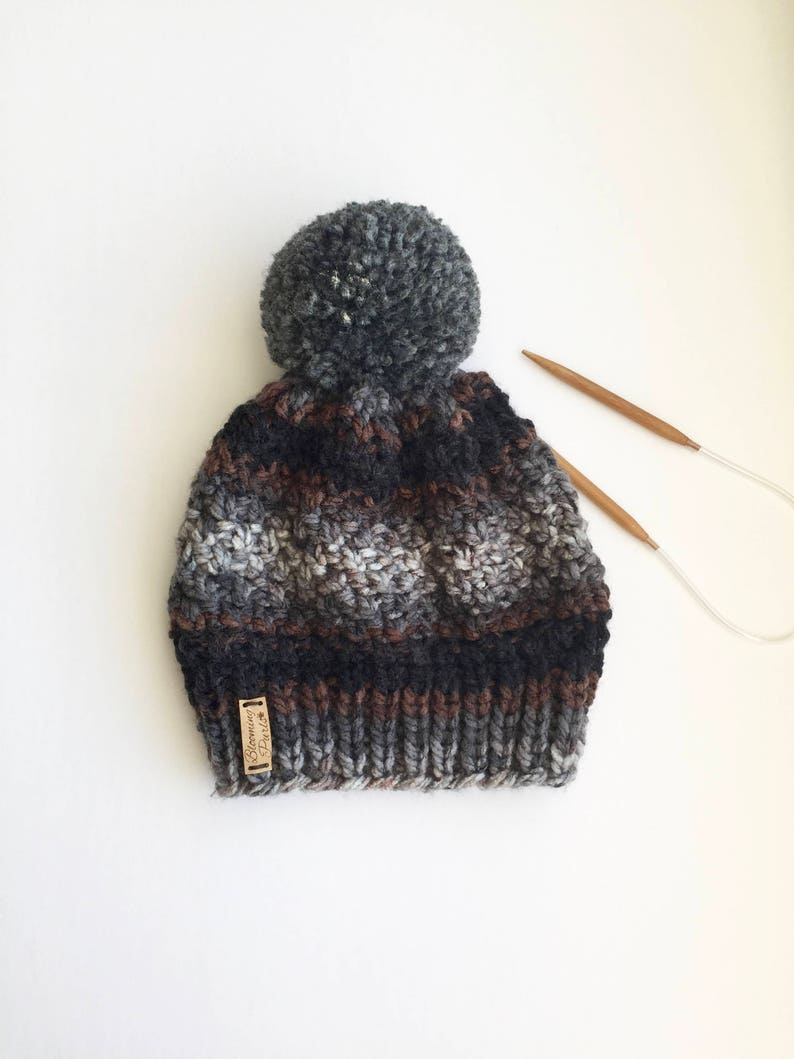 70170d62ba1 Child Knit Hat with large Pom Pom Grey and Black knit toque