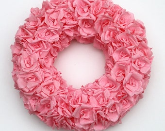 Pink rose wreath, baby girl gift, pink paper roses, baby shower wreath, paper flower wreath, pink floral wreath, wall decor, pink bedroom