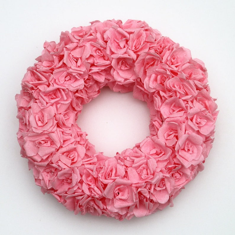 Pink paper rose wreath baby shower decoration