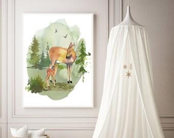 PDF Printable Art - Mama Deer and Baby Deer