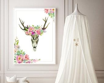 PDF Printable Art - Floral Skull Boho Pastels