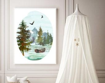 PDF Printable Art - Mountains and Fishing