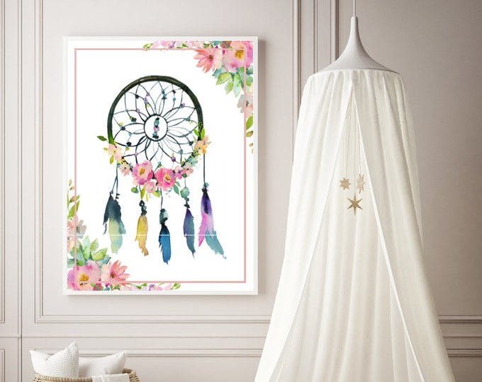 Featured listing image: PDF Printable Art - Dreamcatcher Boho Pastels