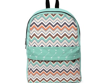 Classic Backpack: Teal Arrows and Aztec
