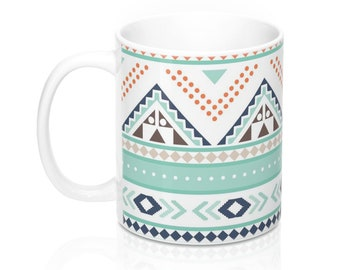 Teal and Peach Aztec, 11oz Mug, Custom Coffee Mug, Tea Mug, Custom Gift, Gift for Her, Stocking Stuffer, Home Decor, Cups, Mugs