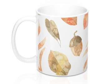 Fall Leaves, 11oz Mug, Custom Coffee Mug, Tea Mug, Custom Gift, Gift for Her, Stocking Stuffer, Home Decor, Cups, Mugs