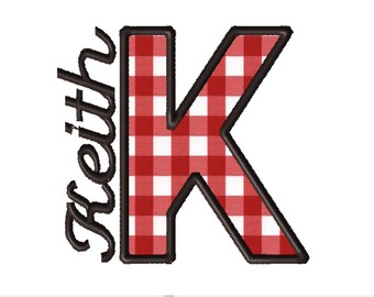 Made To Order - Letter K, CUSTOM Applique Embroidery File: 5x5