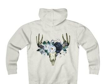 Fleece Zip Hoodie: Floral Skull