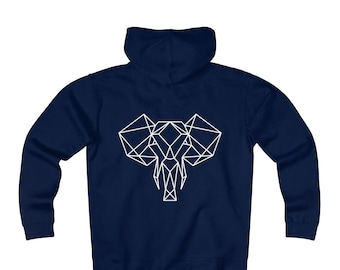 Fleece Zip Hoodie: Geometric Elephant