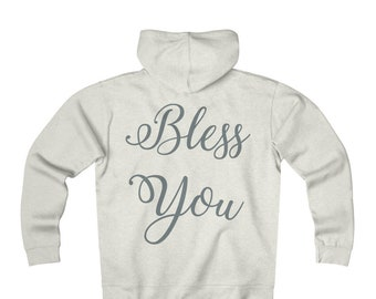 Fleece Zip Hoodie: Bless You - Gray Font