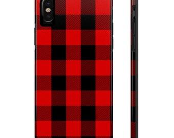 Black and Red Plaid Phone Case, Case Mate Tough Phone Cases, Custom Phone Cases, iPhone Case, Samsung Phone Case, Galaxy Case