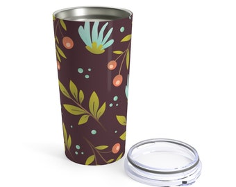 20oz Stainless Steel Tumbler: Floral Design 1