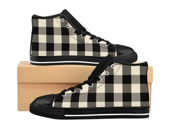White Plaid, Mens HighTop Sneakers