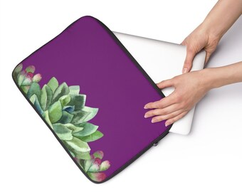 Purple Succulent, Custom Printed Laptop Sleeve