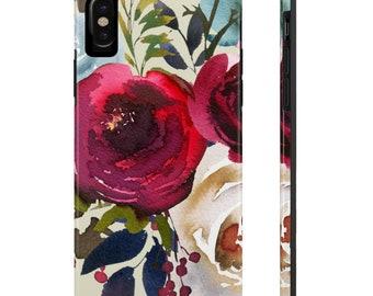 Red Floral Phone Case, Case Mate Tough Phone Cases, Custom Phone Cases, iPhone Case, Samsung Phone Case, Galaxy Case
