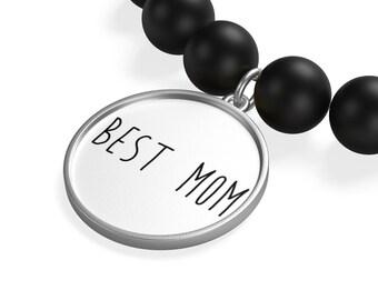 Best Mom Matte Onyx Bracelet