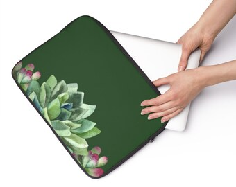 Green Succulent, Custom Printed Laptop Sleeve