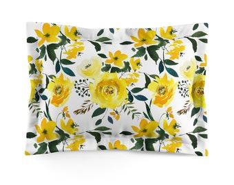 Yellow Floral Microfiber Pillow Sham