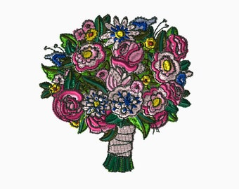 4x4 Embroidery File: Bouquet, Choose Your Size and Format
